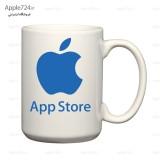 ماگ سفید طرح اپل و اپ استور
